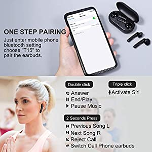 True Wireless Earbuds, Hadisala Bluetooth 5.0 Headphones with 30H Playtime Touch Control, IPX7 Waterproof Bluetooth TWS Stereo Earphones with Deep Bass Built-in HD Mic, in-Ear Headset for Sports Work