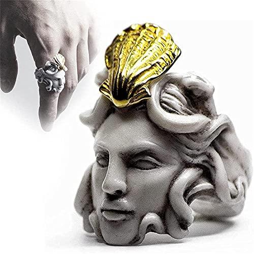 XIAOLONGWANG Medusa Ring,MitologíA Griega Medusa Zeus Ring, Zeus Ring Head Shape Ring, Exagerado Old Man'S Head Shape Ring, Vintage Gold Sculpture Ring, Regalos para Mujeres Y Hombres #07 Medusa
