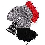 CZLWZZD Kreative Rote Krone Römische Mütze Handgewebte Lustige Ritterstrickmütze Halloween Maske