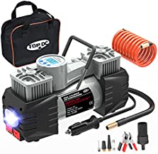 TOPDC Dual Cylinder Air Compressor Heavy Duty Metal Tire Inflator, Portable Digital Tire Pump,12V DC 100PSI with Battery clamp and 2M Extension Air Hose,for Car Tires/SUV/Truck/Bike/Air Bed/Basketbal