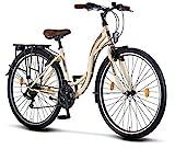 Licorne Bike Stella (Beige) 28 Zoll Damenfahrrad, CTB ab 160 cm, Fahrrad-Licht, Shimano 21...