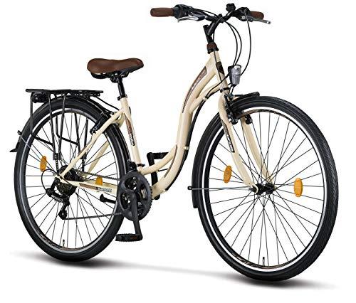 Licorne Bike Stella Premium City Bike in 28 Zoll - Fahrrad für Mädchen, Jungen, Herren und Damen - 21 Gang-Schaltung - Hollandfahrrad - Beige