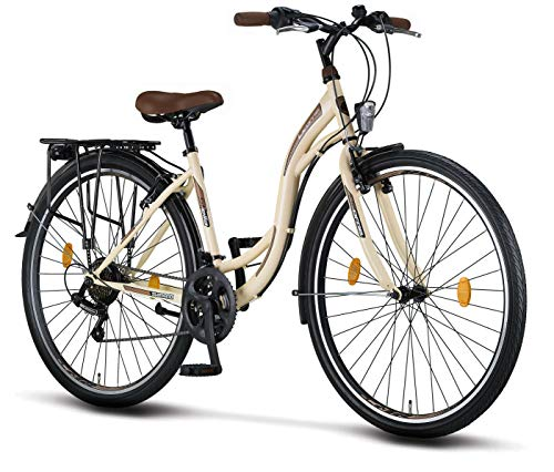 Licorne Bike Stella (Beige) 28 Zoll Damenfahrrad, CTB ab 160 cm, Fahrrad-Licht, Shimano 21 Gang-Schaltung, Damen-Citybike, Retro, Holland, Amsterdam