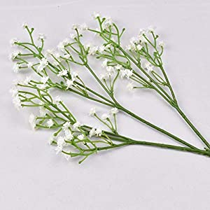7pcs Artificial Flower, Satoni Fake Colorful Gypsophila Long Stem Silk Flowers Blossom Real Touch Faux Flowers Handmade Bouquets for Room Home Decor Wedding Party Decoration