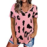 Camiseta de Manga Corta para Mujer Camiseta con Cuello Redondo y Manga Corta con Estampado de Leopardo Camiseta Casual básica Camiseta con Estampado de Leopardo Algodón Verano Otoño Camisetas Sueltas