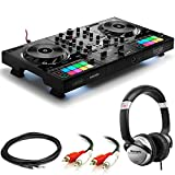 Hercules DJ Control Inpulse 500 DJ Software Controller + Professional DJ Headphones + Stereo Audio Cable + Hosa Interconnect Cable