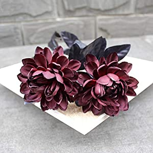 INFILM 15Pcs Artificial Roses, Silk Dahlia Branch Bouquets Fake Flowers Arrangement Photography Props for Home Office Living Room Wedding Table Floral Centerpiece Garden Party Office Supplies