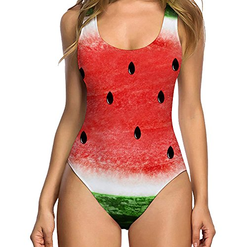 Yuwegr Damen Badeanzug Einteilige Sexy Rückenfrei Lustiger Print Bademode Push Up Monokini Sommer Strand Bikini Casual Sport Badebekleidung (L, Wassermelone)