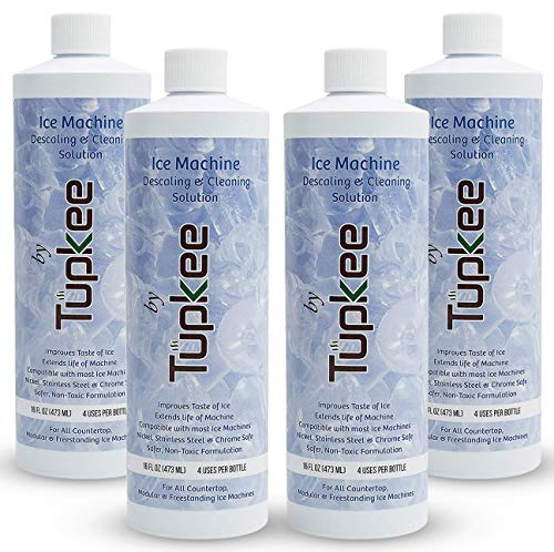 Tupkee Ice Machine Cleaner Nickel Safe - 16oz Ice Maker Cleaner, Universal for Affresh, Whirlpool 4396808, Manitowoc, Kitchenaid, Scotsman Ice Machine Cleaner and Sanitizer Descaler - Pack of 4