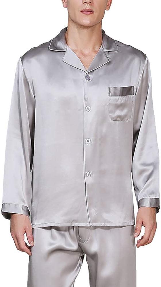 LingDooo Mens 100% Silk Classic Pajamas Set Sleepwear Loungwear Button-Down Nightgown