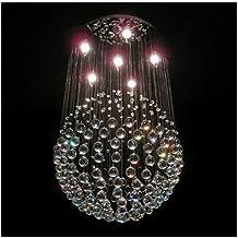 "GOWE 6 LED Bulbs W19.7"" X H39.4"" Modern Crystal Chandelier Round sphere Pendant Lamp RainDrop Hanging suspension Light lig..."