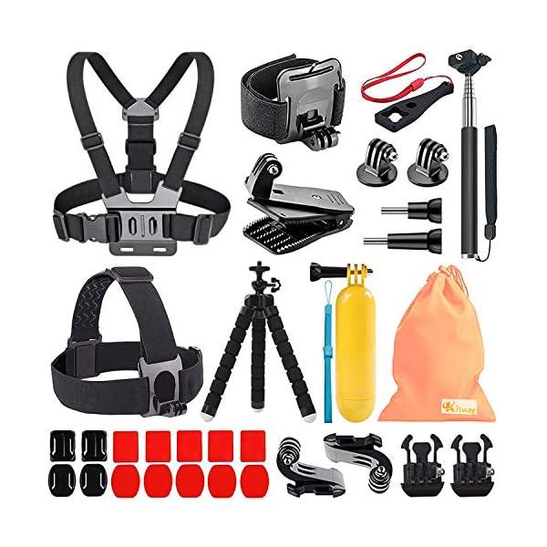Kitway 65-in-1 Action Camera Accessories Kit for Akaso EK7000/DJI Osmo Pocket/Wewdigi EV5000/GoPro Hero 6 Hero 5 Black Session 7 6 5 4 3+ 3 2 1/DBpower N6/Crosstour