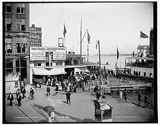Infinite Photographs Photo: Ferry Dock,Piers,Wharves,Signs,Bois Blanc Island,Boblo,Detroit,Michigan,MI,1890
