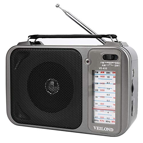 VEILOND AM FM Portable Radio Player, AC Power or Dry Battery Operated Vintage AM FM Shortwave Compact Transistor Radio with 3.5mm Earphone Jack(Grey)