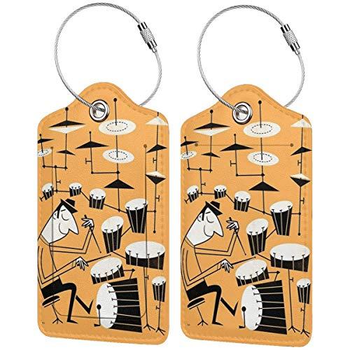 Kofferanhänger Play That Beat Leder Koffer-Etiketten Tasche Reisegepäck Tasche mit Sichtschutz 2 Stück Set
