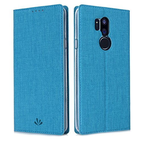 Eastcoo LG G7 ThinQ Hülle PU Leder Flip Hülle Tasche Cover Schutzhülle mit [Standfunktion][Magnetic Closure][Wallet]für LG G7 ThinQ Smartphone (Blue)