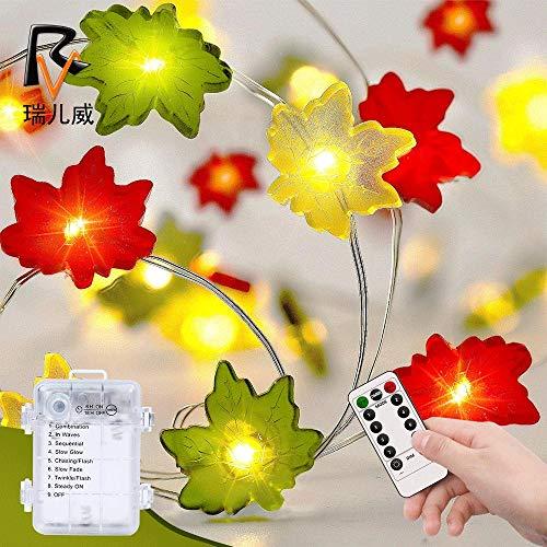 Powzz ornament Halloween tricolor hoja de arce cadena de luces 30led control remoto caja de batería Acción de Gracias decoración linterna