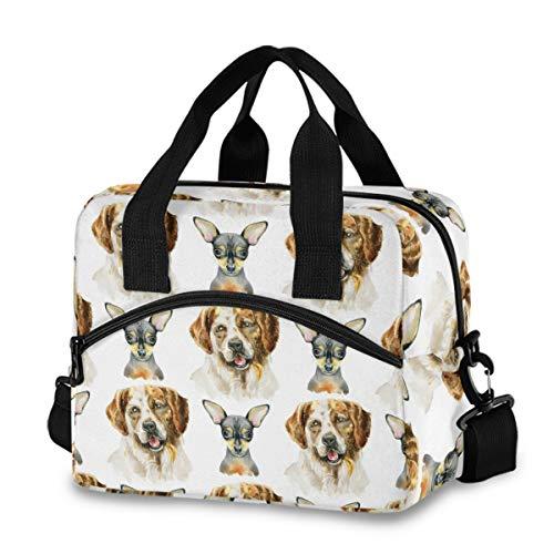 Bolsa de almuerzo aislada reutilizable refrigerante – acuarela perros sonrientes caja de almuerzo ajustable correa para el hombro para la escuela, oficina, picnic, adultos, hombres y mujeres