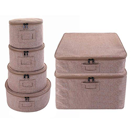 HTYG 6PCS Dinnerware Storage Set-Hard Shell Stackable Storage Box Set for Dinnerware Storage and Transport-Dishes Cups Mugs Felt Protects Organizers With Lid (B)