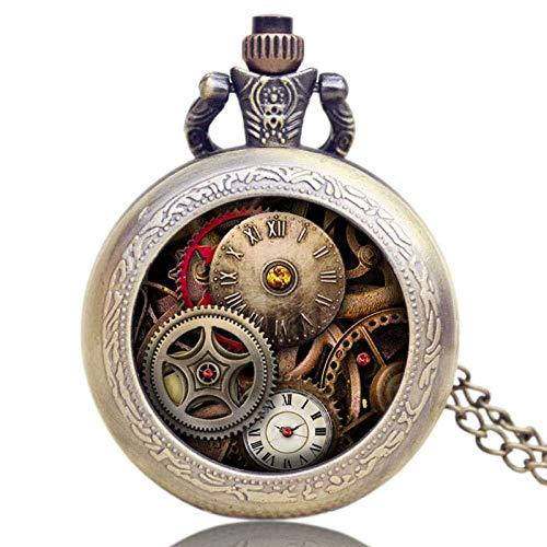 WLGQ Reloj de Bolsillo, Collar, Colgante, Estilo Antiguo, Reloj de Bolsillo, Cadena Larga de Bronce, Regalo Steampunk para Hombres, Mujeres, niños, niñas, Retro Punk