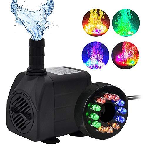 Mini bomba de agua sumergible 10W Bomba de fuente de agua ultra silenciosa, 504L / H, con 12 luces para acuario, pecera, estanque, hidroponía, estatuario