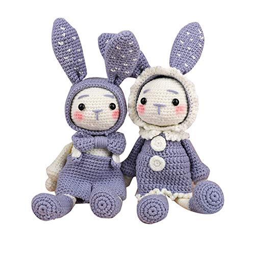 Lanbowo handgemachte gehäkelte Wolle Puppen Material Pack DIY lange Ohren Kaninchen handgemachte Puppen(grau)