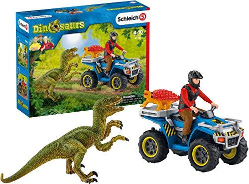 Schleich 41466 Juego de dinosaurios - Escapa en un quad del Velociraptor, juguetes para más de 4 años