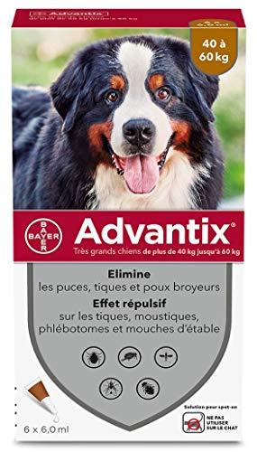 ADVANTIX - Cane molto grande - Antipulci e Antizecche - 40-60 kg - 6 pipette