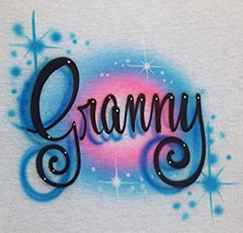 Custom Airbrush T Shirt Script Font Name - Youth/Adult/Baby One Piece- Personalized Airbrushed Name Tshirt.Birthday Shirt
