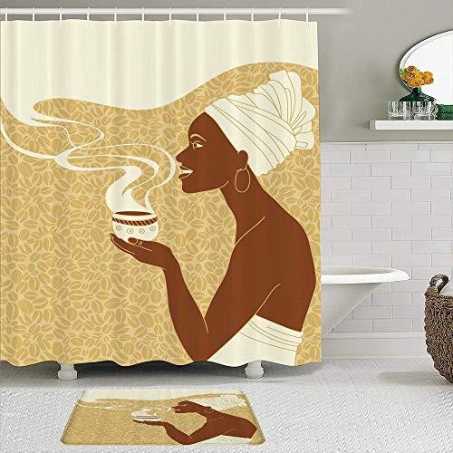 DAOPUDA Juego de Cortinas de Ducha de 2 Piezas con alfombras Antideslizantes, Africana, Sonriente, Feliz, Afro, Dama con Taza de café Caliente, Semillas, Cacao, Vintage,