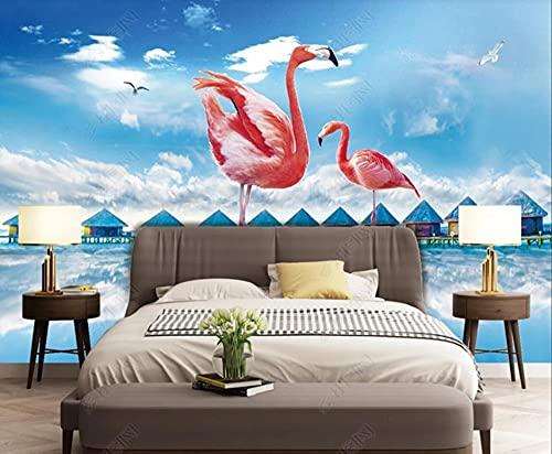 Papel Pintado Pared 3D Pared Flamingo Cielo Azul Y Nubes Blancas Fotomurales Decorativos Pared Decoración Mural Pared