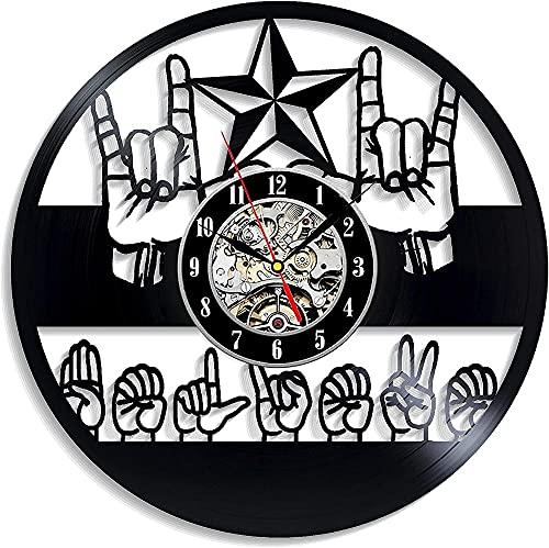 KDBWYC Lenguaje de señas - Reloj de Pared de Vinilo con Word Believe - Envío exprés para niño, niña, Hombre o Mujer, decoración para habitación de niños, comunidades sordas, lenguaje Natural