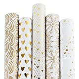 RUSPEPA Papier d'emballage pour Cadeau - Motif De Papier D'Aluminium Et d'or Blanc...
