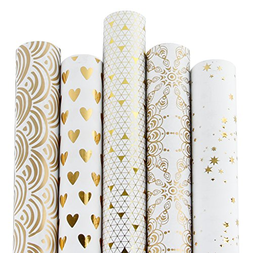 RUSPEPA Gift Wrapping Paper Roll-White and Gold Foil Pattern for Wedding,Birthdays, Valentines, Christmas-5 Roll-30Inch X 10Feet Per Roll Anniversary Wedding Gift Wrap
