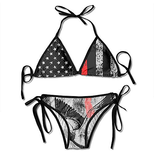 AmyNovelty Conjuntos De Bikini,Conjunto De Bikini De Impresión De Bandera Americana De Caza De Patos Trajes De Baño Ajustables De Moda para Mujer Sexy
