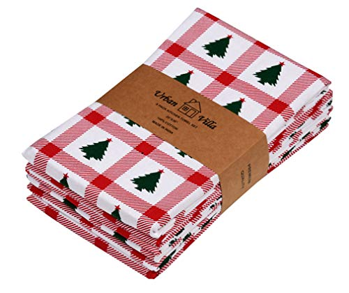 Urban Villa Kitchen Towels,Christmas Tree Print,Red/Green, Premium Quality,100% Cotton Dish Towels,Mitered Corners,Ultra Soft (Size: 20X30 Inch), Highly Absorbent Bar Towels &Amp; Tea Towels - (Set Of 6)