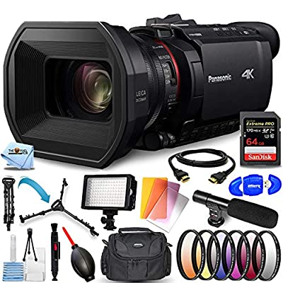 Panasonic HC-X1500 UHD 4K HDMI Pro Camcorder with 24x Zoom - Pro Bundle with Extreme Pro 64GB SD, LED Light Kit, Microphone, 6PC Filter Kit, Tripod Dolly and More by Pixel Hub