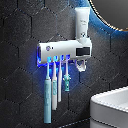 BITUBITU - Stérilisateur de Brosse à Dents à énergie Solaire - Support Mural - Désinfectant pour Brosse à Dents avec Distributeur Automatique de Dentifrice
