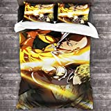 KDRW Copripiumino copripiumino e lenzuola trapunta e copripiumino Bed Duvet Cover - Comforter Set, Anime Game ONE Punch Man 3-Piece Bedding Set 86'''' x70 Soft and Comfortable with 1 Quilt Set and 2 P
