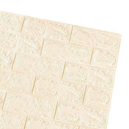 XMJG Panel De Pared 3D De 20 Piezas,Propio-Adhesivo,Piedra-mira Fondo De Pantalla 70 X 77 Cm,Espuma De PE,Papel Pintado En Relieve DIY Brick Stone,Pegatinas De Pared,Decoración De La Pa-Beige 70x77cm