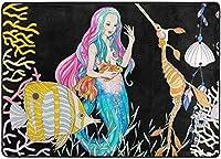 ゴールドフィッシュエリアラグ付き漫画マーメイド、リビングダイニングルームベッドルームキッチン用ラグ、5'X7'保育園ラグフロアカーペットヨガマット