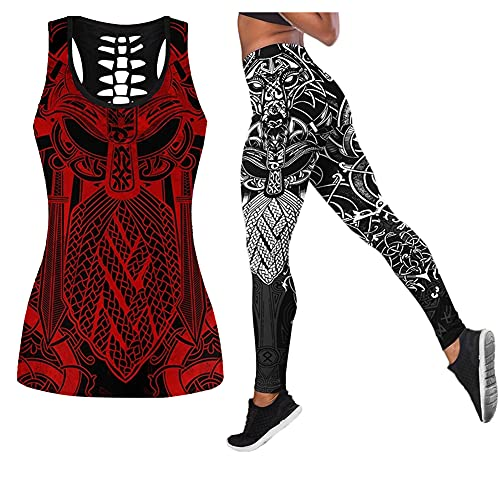 Camisetas sin mangas Viking Hollow para hombre con leggings de compresión de cintura alta Trajes de chándal sin espalda Estampado 3D Conjunto de ropa deportiva negra Valknut Runes de Odin,Red set,4XL