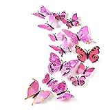 TUPARKA 36 Piezas 3D Mariposa Pegatinas de pared Accesorios para el dormitorio de las niñas mariposas de la pared, rosa
