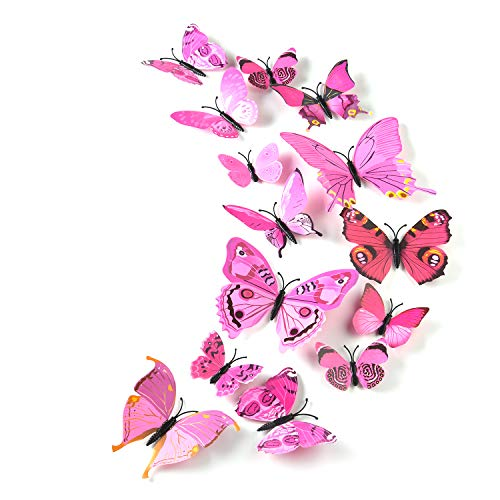 TUPARKA 36 Pieces 3D Butterfly Wall Stickers Wall Butterflies Girls Bedroom Accessories Multi-Color Optional (Pink)