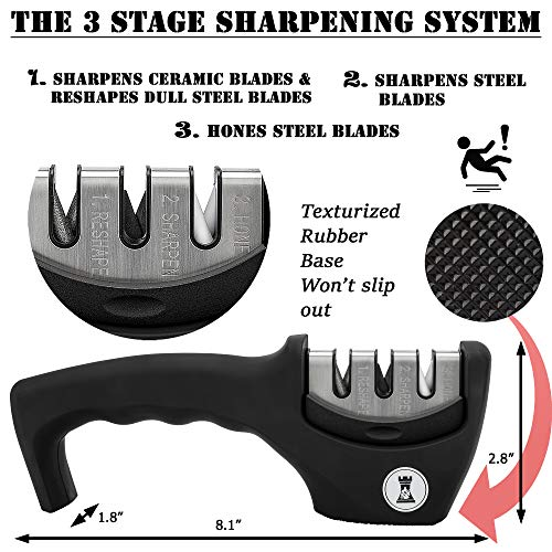 Knife Sharpeners for Steel and Ceramic Kitchen Knives - Manual Handheld System to Safely Sharpen and Hone your Knife - Cut Resistant Glove and Blade Cloth Included