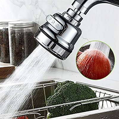 3 Modes Faucet Aerator, Movable Kitchen Tap Head 360° Rotatable ABS Anti-Splash Magic Faucet Aerator, High Pressure Faucet Aerator Head Universal Copper Connector, Faucet Sprayer Attachment