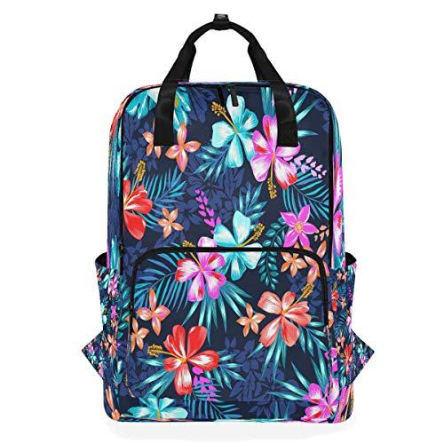 Blue Watercolor Flower Shoulder Backpack Student Lightweight Diaper Bag Travel for Kid Girls Boys