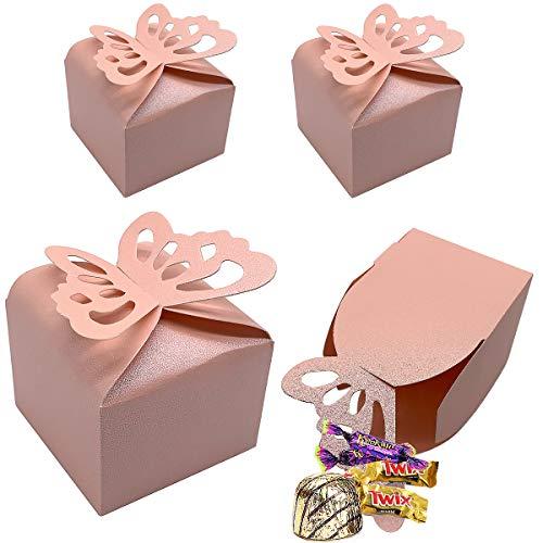 CCUCKY 25 Piezas Caja de Dulces de Mariposa, Favores de Boda Cajas de Azúcar, Duchas Nupciales Fiestas Regalos Decoración de Mesa (Rosado)