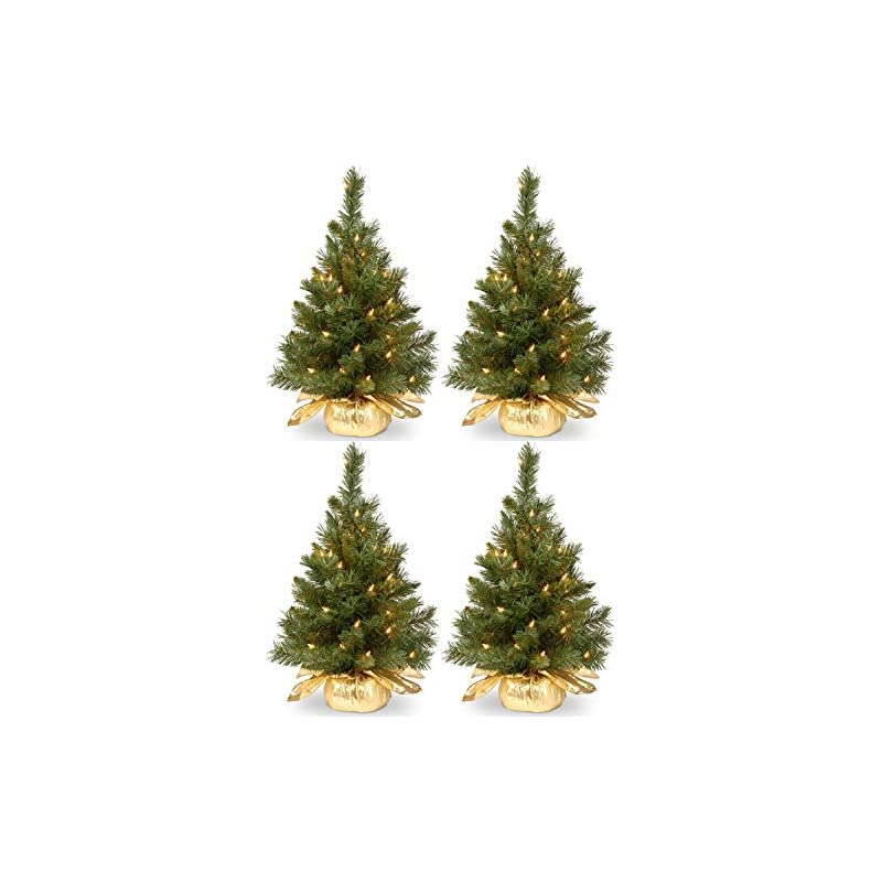 silk flower arrangements national tree company pre-lit artificial mini christmas tree   includes small lights and cloth bag base   majestic fir - 2 ft
