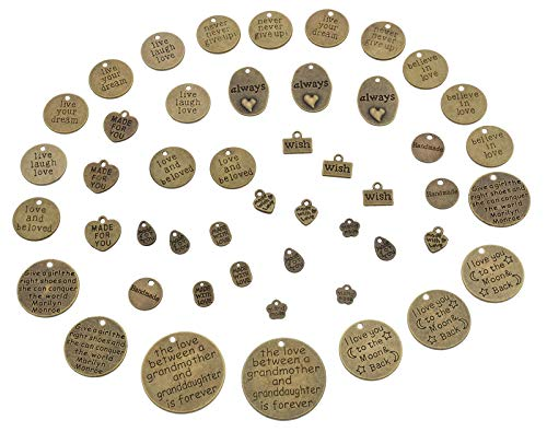 YYaaloa Pack of 48 Bronze Inspirational Message Sayings Charms DIY Charms Pendant for Crafting, Jewelry Making Accessory (Inspiration Charms 48pcs Bronze)